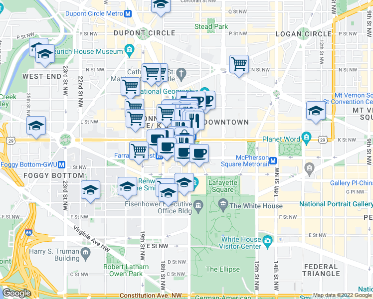 map of restaurants, bars, coffee shops, grocery stores, and more near 910 17th Street Northwest in Washington