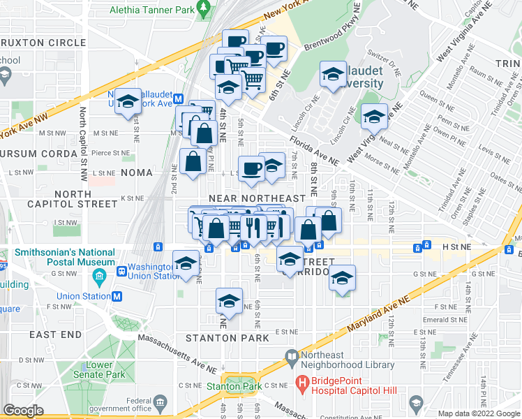 map of restaurants, bars, coffee shops, grocery stores, and more near 609 K Street Northeast in Washington
