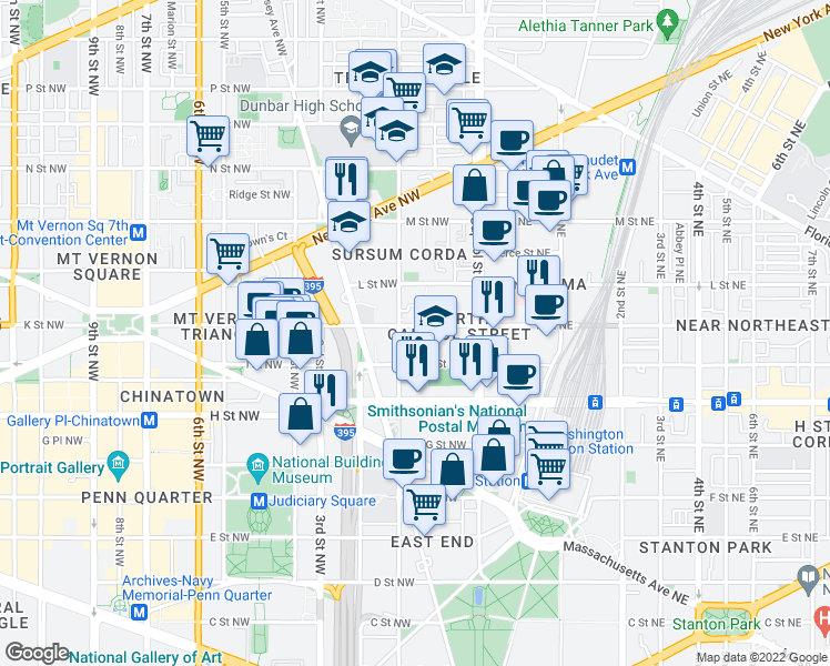 map of restaurants, bars, coffee shops, grocery stores, and more near 72 K Street Northwest in Washington