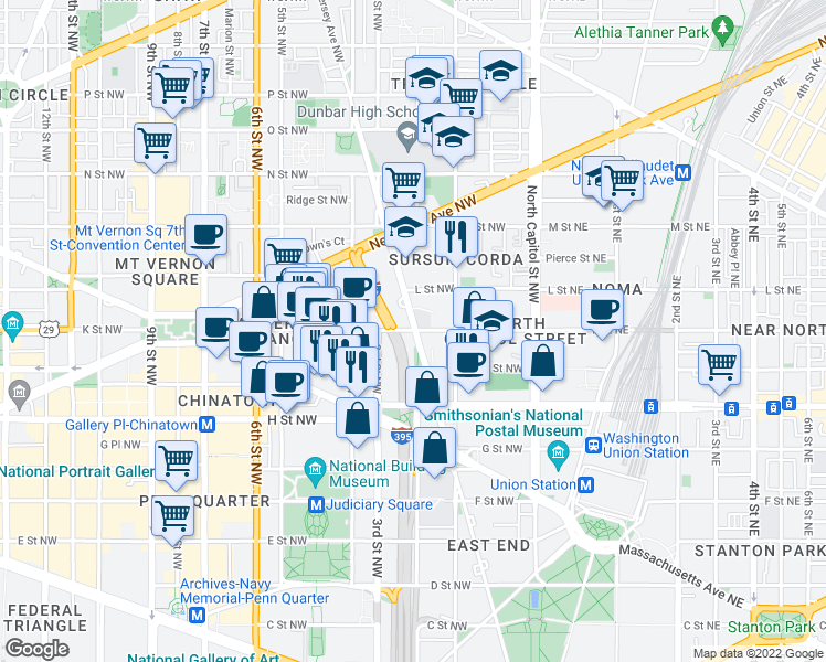 map of restaurants, bars, coffee shops, grocery stores, and more near 200 K Street Northwest in Washington, D.C.