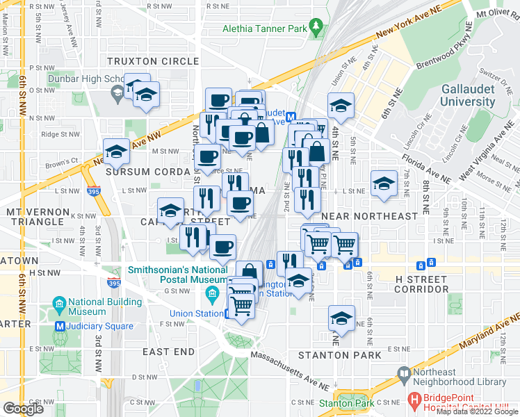 map of restaurants, bars, coffee shops, grocery stores, and more near 100 K Street Northeast in Washington