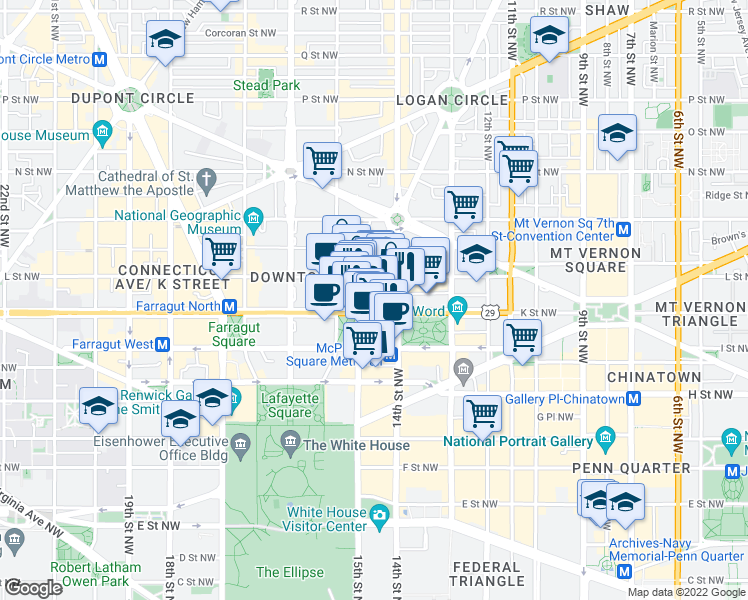 map of restaurants, bars, coffee shops, grocery stores, and more near 1425 K Street Northwest in Washington
