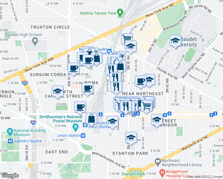 map of restaurants, bars, coffee shops, grocery stores, and more near 237 K Street Northeast in Washington