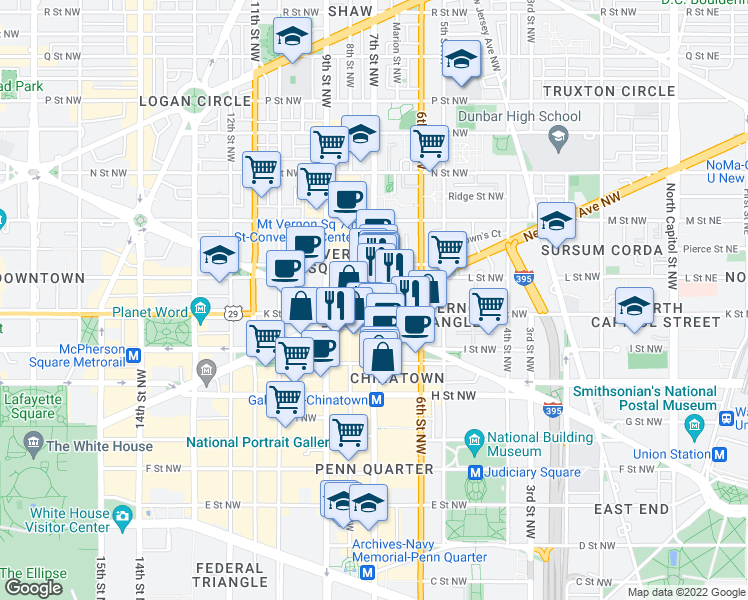 map of restaurants, bars, coffee shops, grocery stores, and more near 7th Street Northwest in Washington