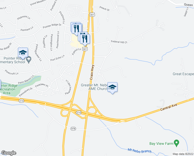 map of restaurants, bars, coffee shops, grocery stores, and more near 1001 Old Mitchellville Road in Bowie
