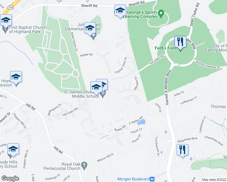 map of restaurants, bars, coffee shops, grocery stores, and more near Hill Oaks Road in Hyattsville