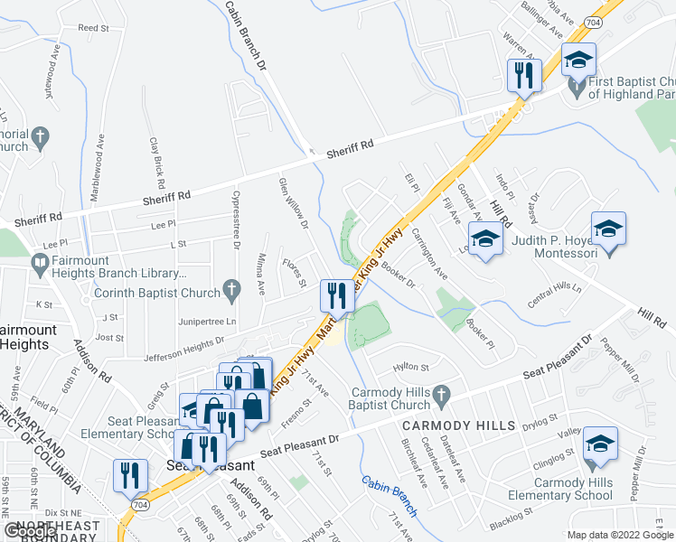 map of restaurants, bars, coffee shops, grocery stores, and more near 903 Glen Willow Drive in Capitol Heights