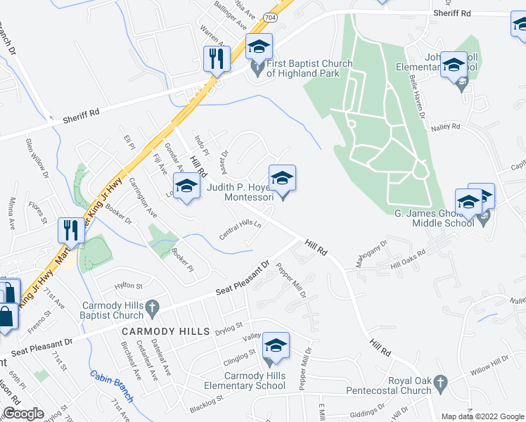 map of restaurants, bars, coffee shops, grocery stores, and more near 1011 Consideration Lane in Hyattsville