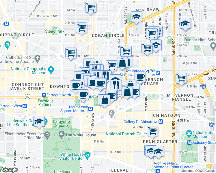 map of restaurants, bars, coffee shops, grocery stores, and more near 13th Street Northwest in Washington