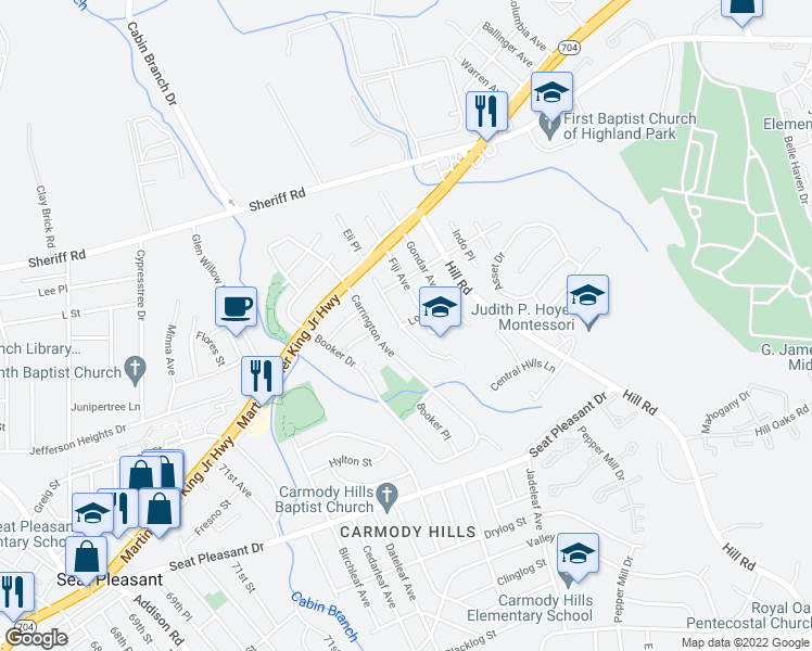 map of restaurants, bars, coffee shops, grocery stores, and more near 6501-6553 Lowland Drive in Hyattsville