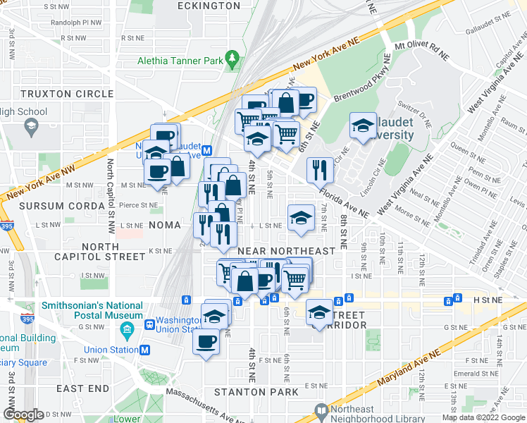 map of restaurants, bars, coffee shops, grocery stores, and more near 1122 5th St NE in Washington