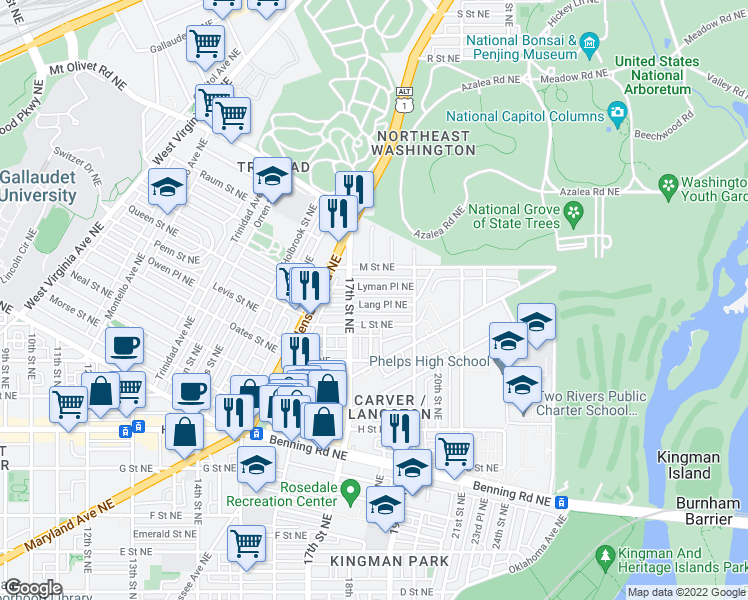 map of restaurants, bars, coffee shops, grocery stores, and more near 1730 Lang Place Northeast in Washington