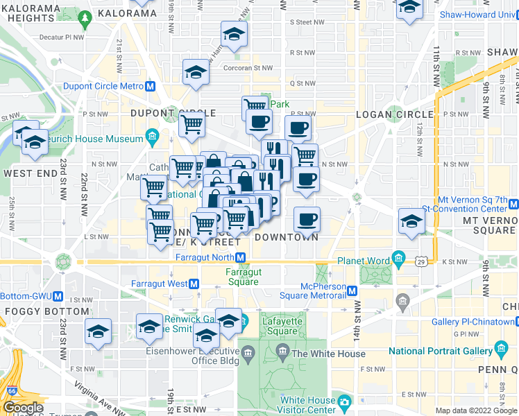map of restaurants, bars, coffee shops, grocery stores, and more near 1145 17th Street Northwest in Washington