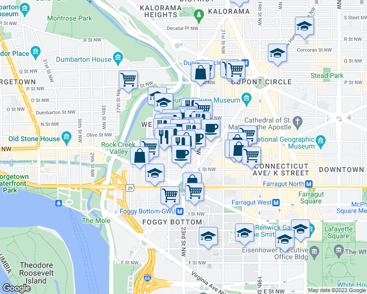map of restaurants, bars, coffee shops, grocery stores, and more near 23rd Street Northwest & M Street Northwest in Washington