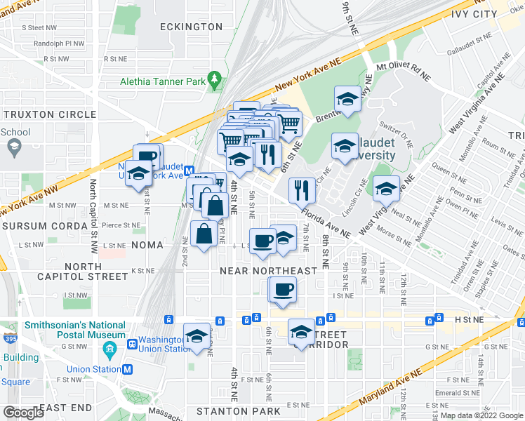 map of restaurants, bars, coffee shops, grocery stores, and more near 425 M Street Northeast in Washington