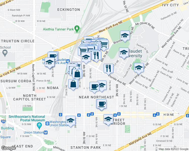 map of restaurants, bars, coffee shops, grocery stores, and more near 517 M Street Northeast in Washington