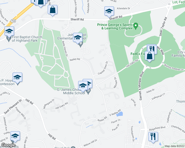 map of restaurants, bars, coffee shops, grocery stores, and more near 1113 Nalley Road in Hyattsville
