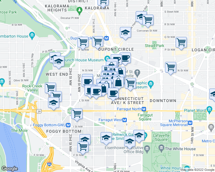 map of restaurants, bars, coffee shops, grocery stores, and more near 1990 M Street Northwest in Washington