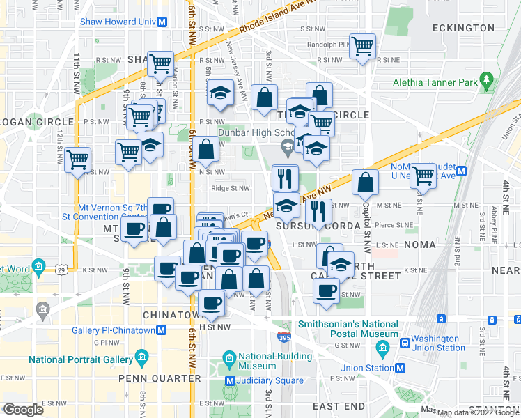 map of restaurants, bars, coffee shops, grocery stores, and more near 310 M Street Northwest in Washington