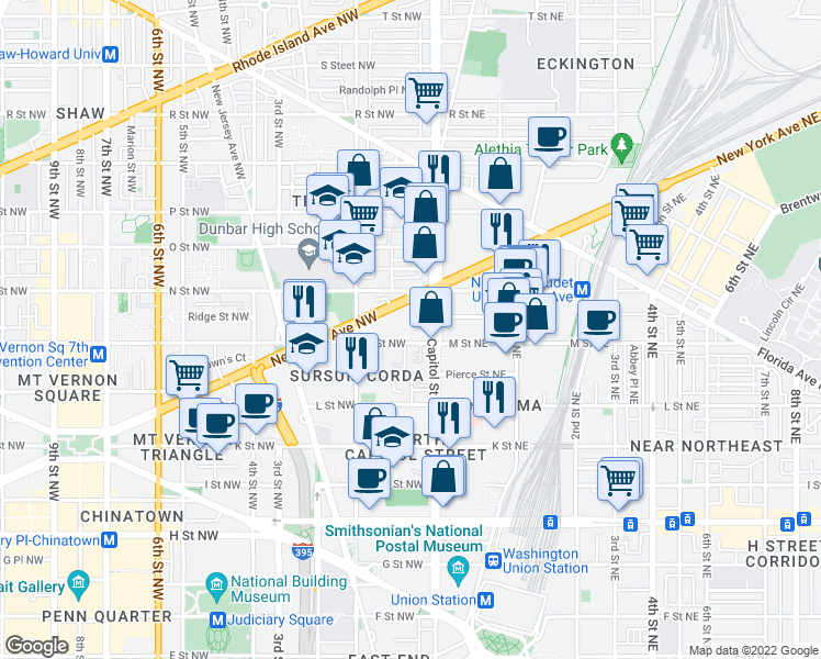 map of restaurants, bars, coffee shops, grocery stores, and more near 1167 First Terrace Northwest in Washington