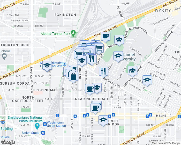 map of restaurants, bars, coffee shops, grocery stores, and more near 611 M Street Northeast in Washington