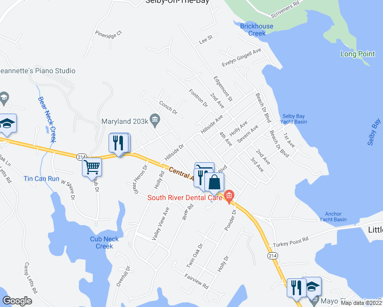 map of restaurants, bars, coffee shops, grocery stores, and more near 7th Avenue in Selby-on-the-Bay