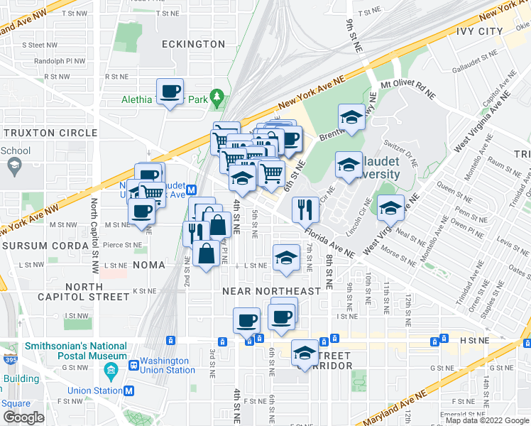 map of restaurants, bars, coffee shops, grocery stores, and more near 519 Florida Ave NE in Washington