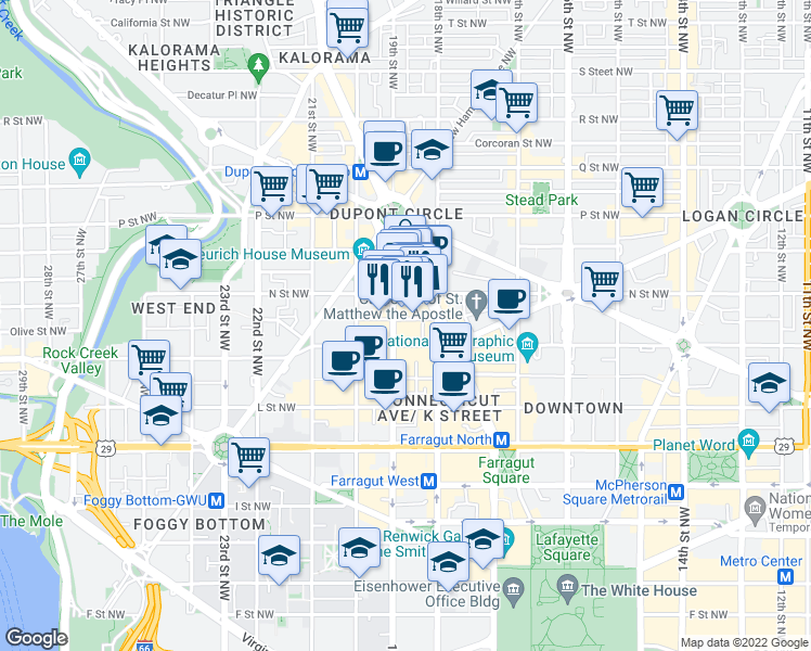 map of restaurants, bars, coffee shops, grocery stores, and more near 1830 Jefferson Place Northwest in Washington