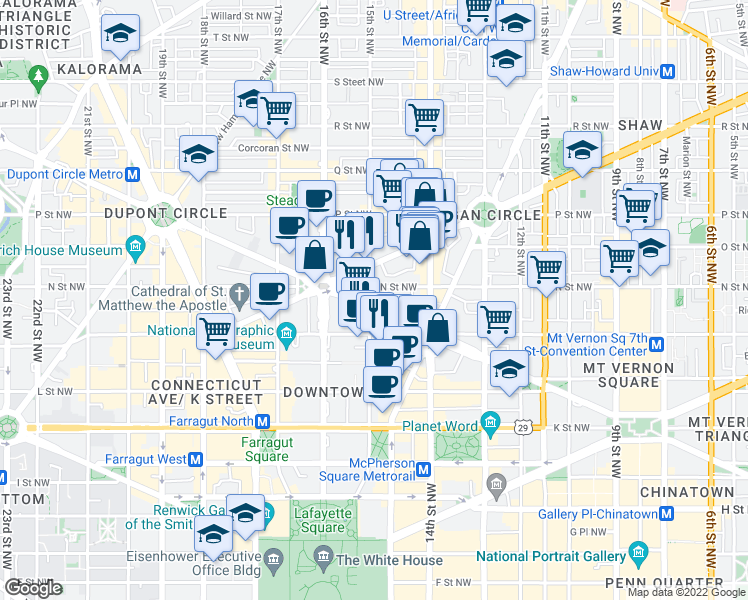map of restaurants, bars, coffee shops, grocery stores, and more near 1500 N Street Northwest in Washington