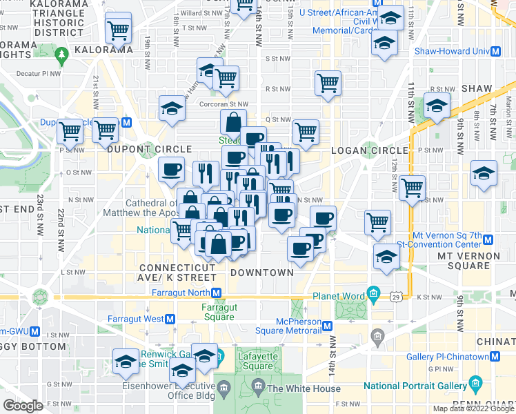 map of restaurants, bars, coffee shops, grocery stores, and more near 1600 N Street Northwest in Washington