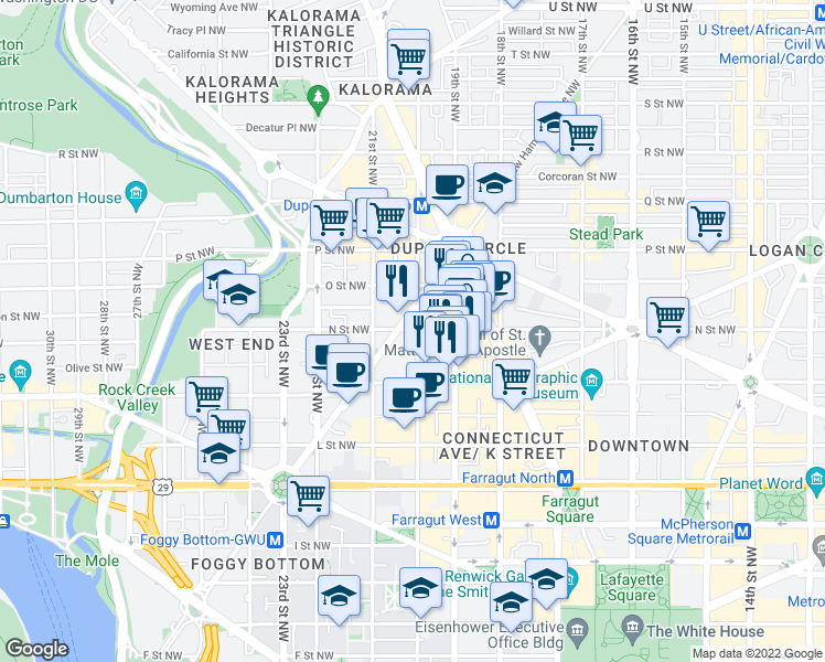 map of restaurants, bars, coffee shops, grocery stores, and more near 2000 N Street Northwest in Washington