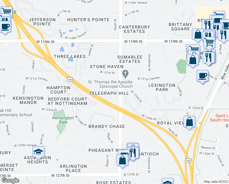 map of restaurants, bars, coffee shops, grocery stores, and more near 8701 West 121st Terrace in Overland Park