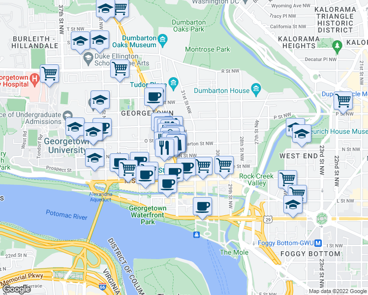 map of restaurants, bars, coffee shops, grocery stores, and more near 3122 Dumbarton Street Northwest in Washington