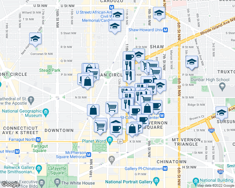 map of restaurants, bars, coffee shops, grocery stores, and more near 1308 12th Street Northwest in Washington