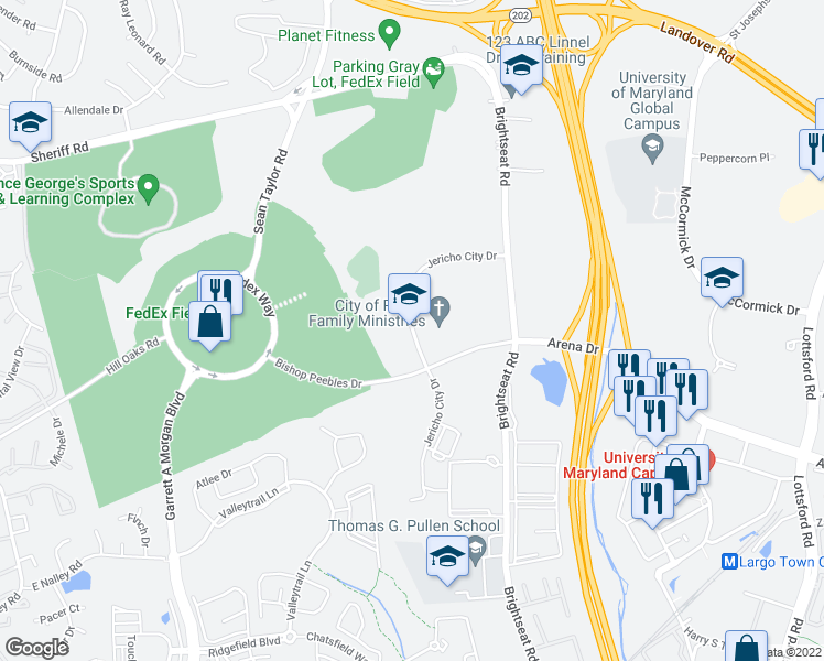 map of restaurants, bars, coffee shops, grocery stores, and more near 8550-8698 Jericho City Drive in Hyattsville
