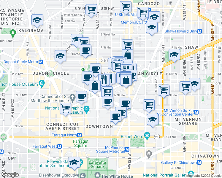map of restaurants, bars, coffee shops, grocery stores, and more near 1332 15th Street Northwest in Washington