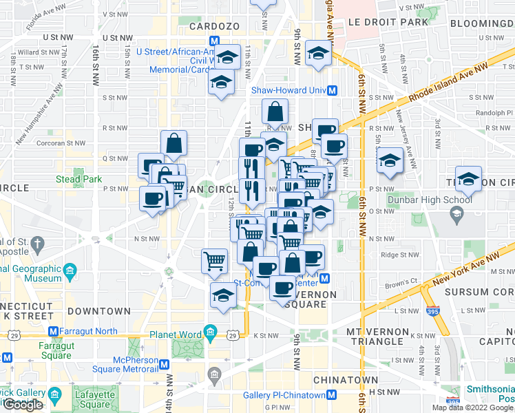 map of restaurants, bars, coffee shops, grocery stores, and more near 1009 O Street Northwest in Washington