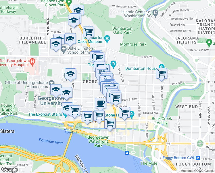 map of restaurants, bars, coffee shops, grocery stores, and more near 3214 P Street Northwest in Washington