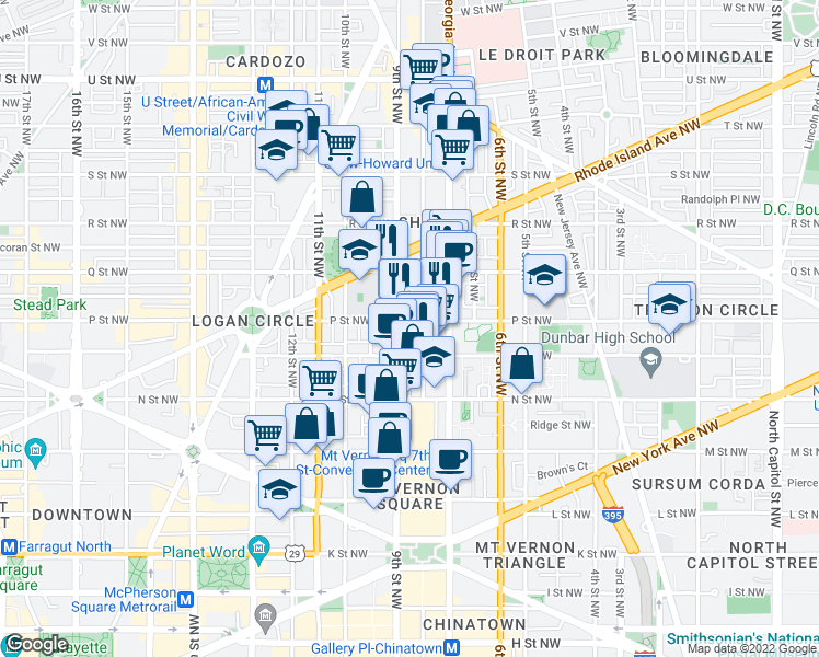 map of restaurants, bars, coffee shops, grocery stores, and more near 880 P Street Northwest in Washington