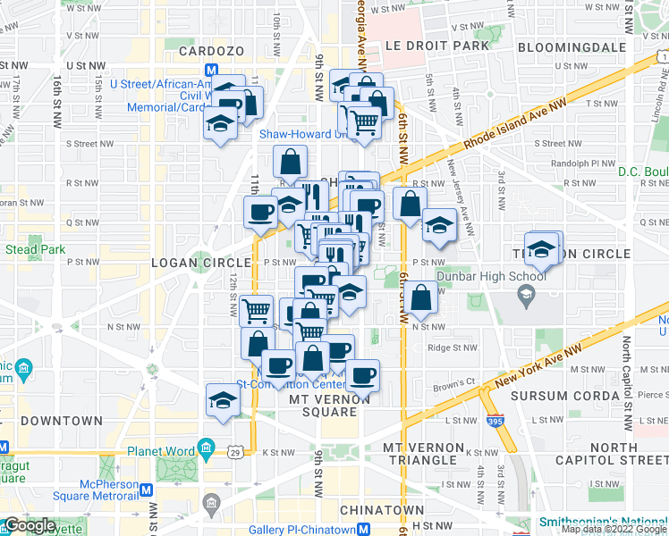map of restaurants, bars, coffee shops, grocery stores, and more near 800 P Street Northwest in Washington