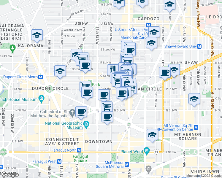 map of restaurants, bars, coffee shops, grocery stores, and more near P Street Northwest & 15th Street Northwest in Washington