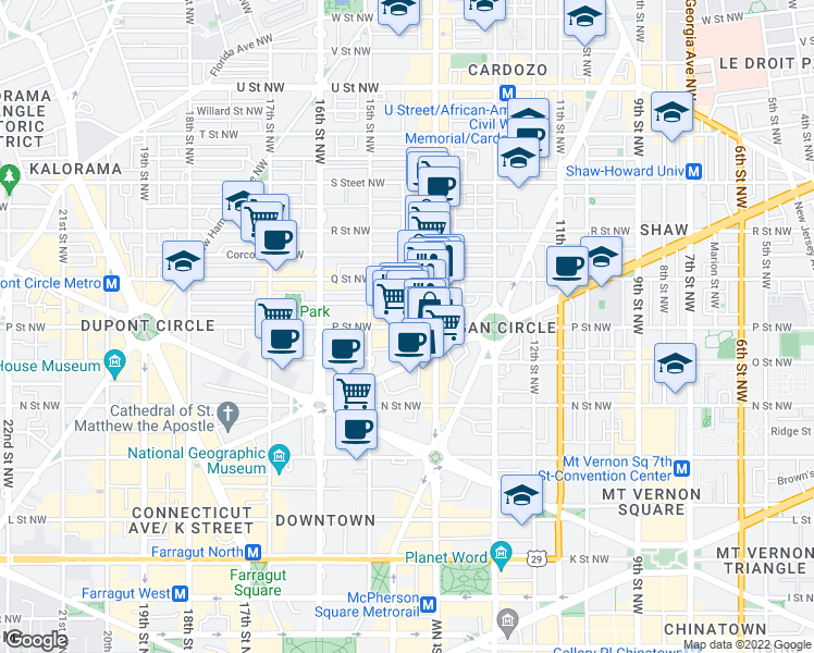map of restaurants, bars, coffee shops, grocery stores, and more near 1415 P Street Northwest in Washington