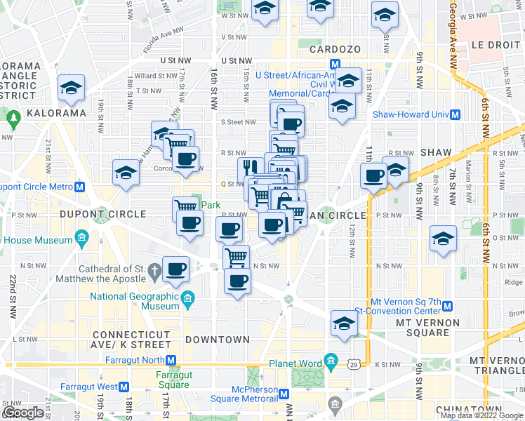 map of restaurants, bars, coffee shops, grocery stores, and more near 1445 P Street Northwest in Washington