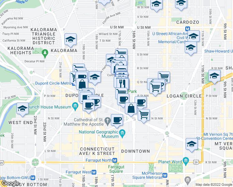 map of restaurants, bars, coffee shops, grocery stores, and more near 1705 P Street Northwest in Washington