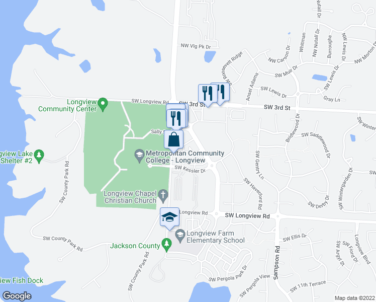 map of restaurants, bars, coffee shops, grocery stores, and more near 460 Southwest Longview Park Drive in Lee's Summit