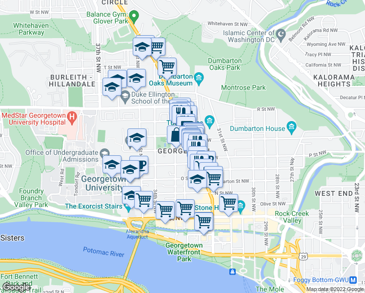map of restaurants, bars, coffee shops, grocery stores, and more near 3219 Volta Place Northwest in Washington