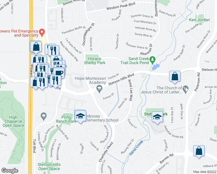 map of restaurants, bars, coffee shops, grocery stores, and more near 6564 Andretti Court in Colorado Springs