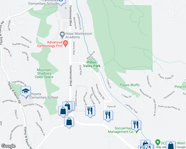 map of restaurants, bars, coffee shops, grocery stores, and more near 5520 Mule Deer Drive in Colorado Springs