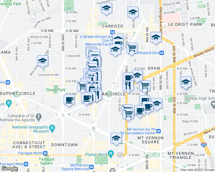 map of restaurants, bars, coffee shops, grocery stores, and more near 1502 13th Street Northwest in Washington