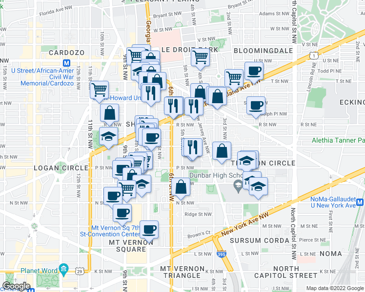 map of restaurants, bars, coffee shops, grocery stores, and more near 5th Street Northwest & Q Street Northwest in Washington